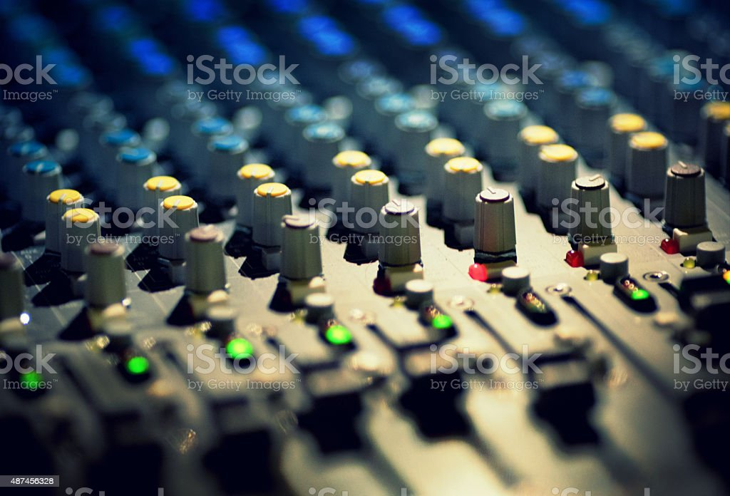 On stage sound mixer stock photo
