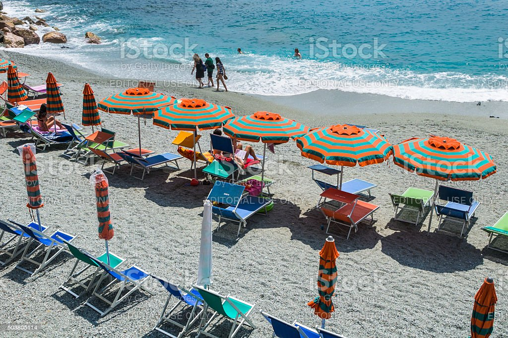On the beach at Monterosso stock photo