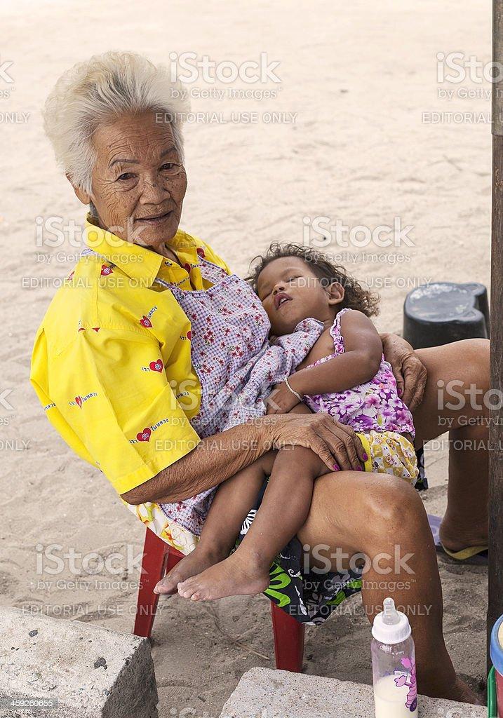 On the beach Bang Saen, Thailand. royalty-free stock photo