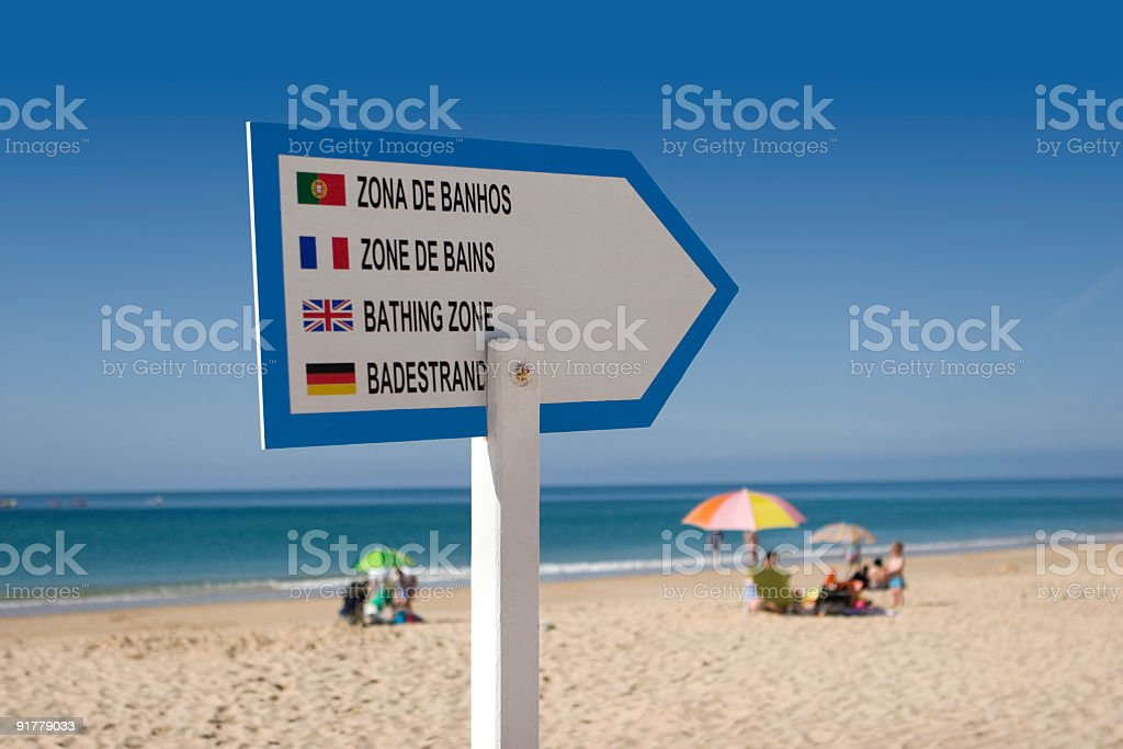 On the Beach - 'Bathing Zone' Sign royalty-free stock photo