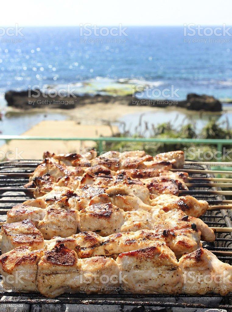 BBQ on the beach stock photo