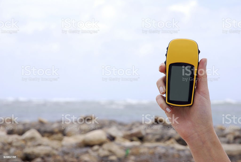 GPS on the beach royalty-free stock photo
