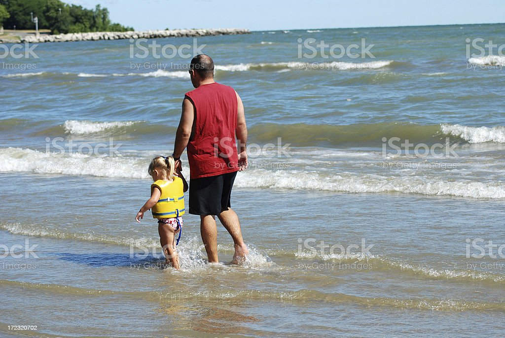 On the Beach with Daddy royalty-free stock photo