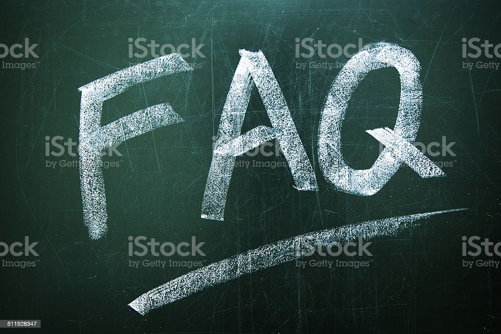 FAQ on the Blackboard stock photo