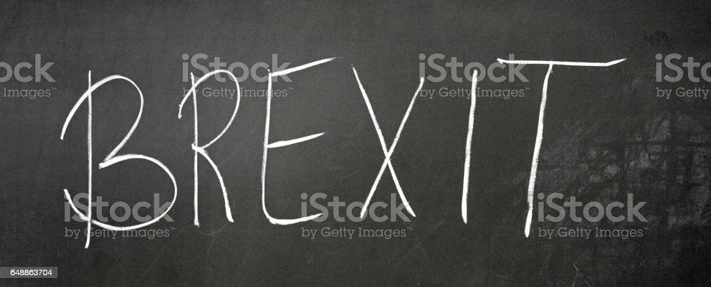 On the blackboard with chalk write BREXIT stock photo