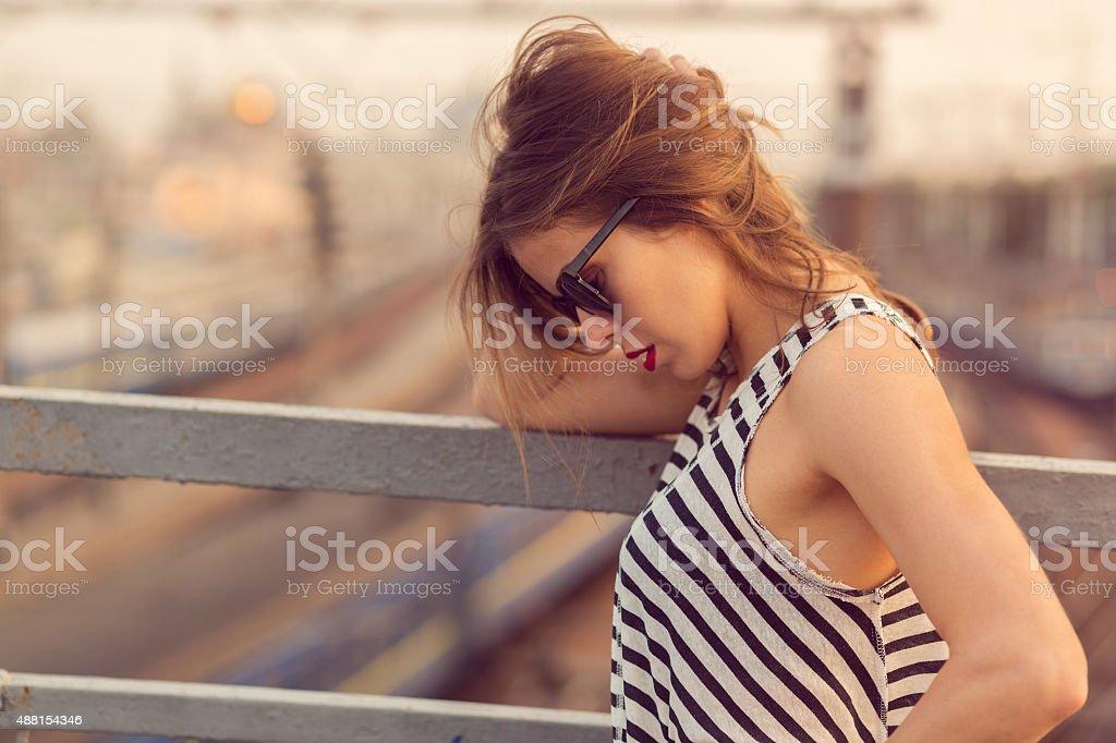 On the bridge stock photo