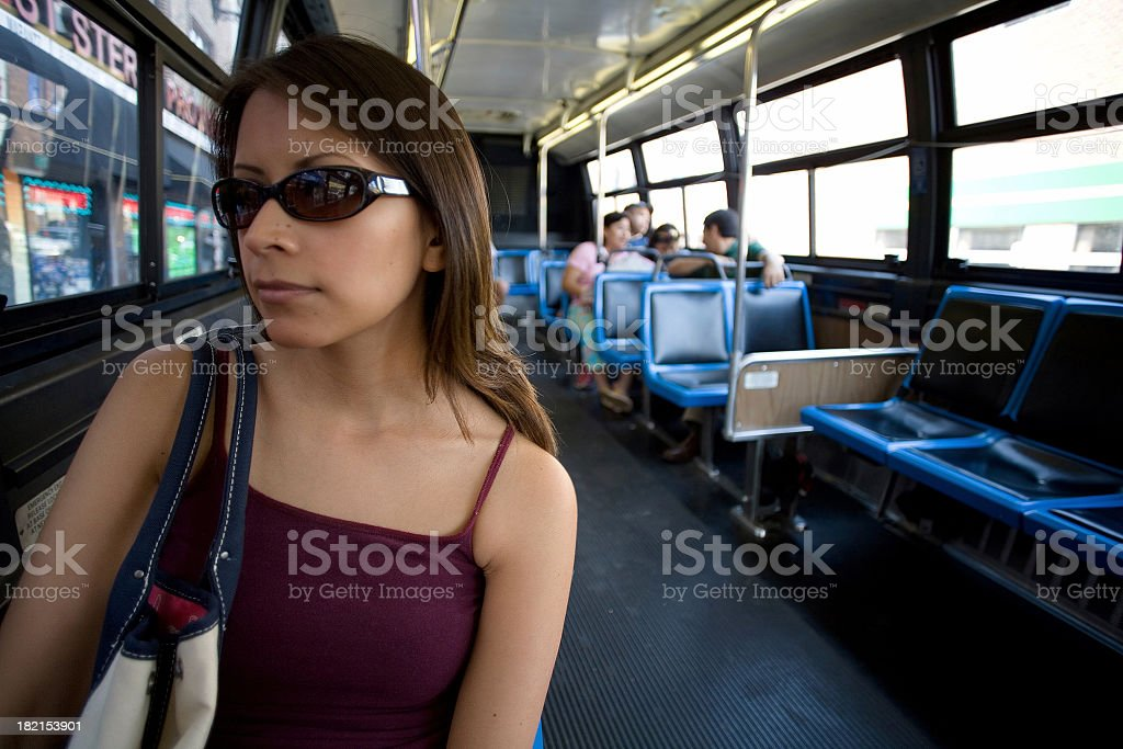 on the bus royalty-free stock photo