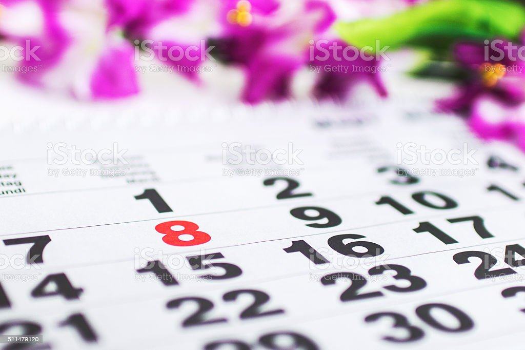 on the calendar March 8 stock photo