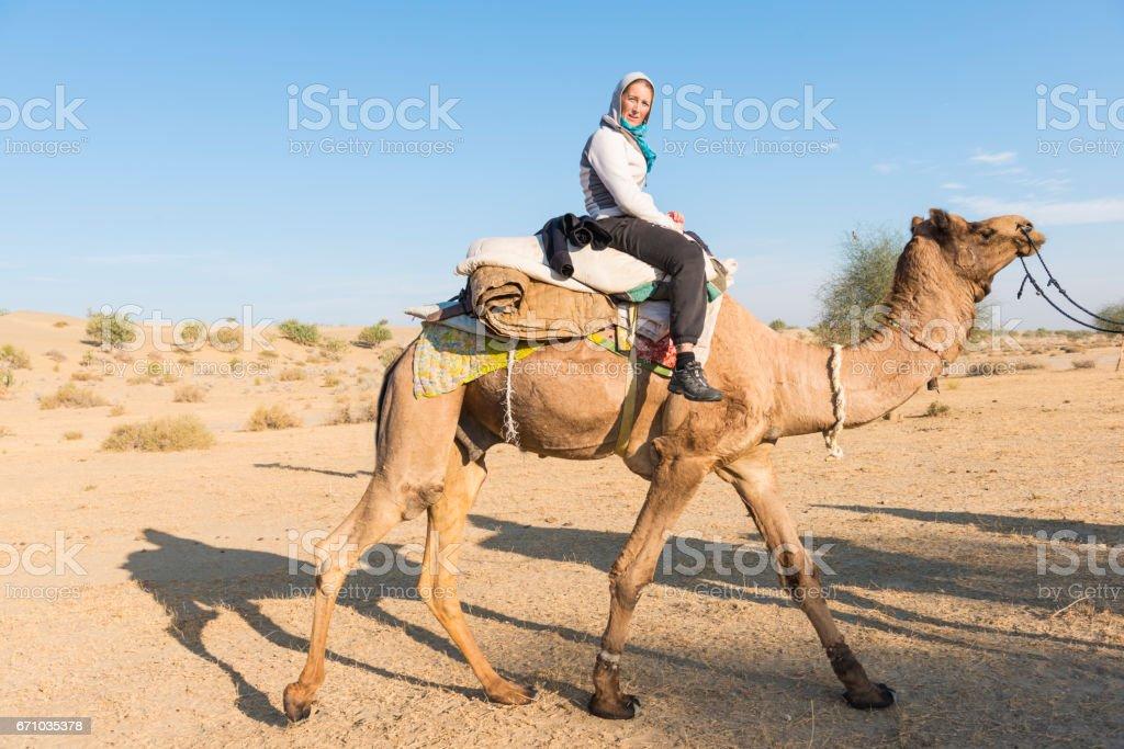 On the camel in desert stock photo