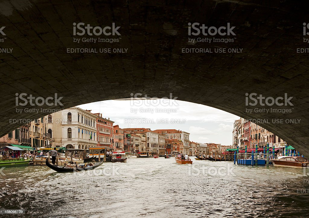 On the Canal Grande below Rialto bridge royalty-free stock photo