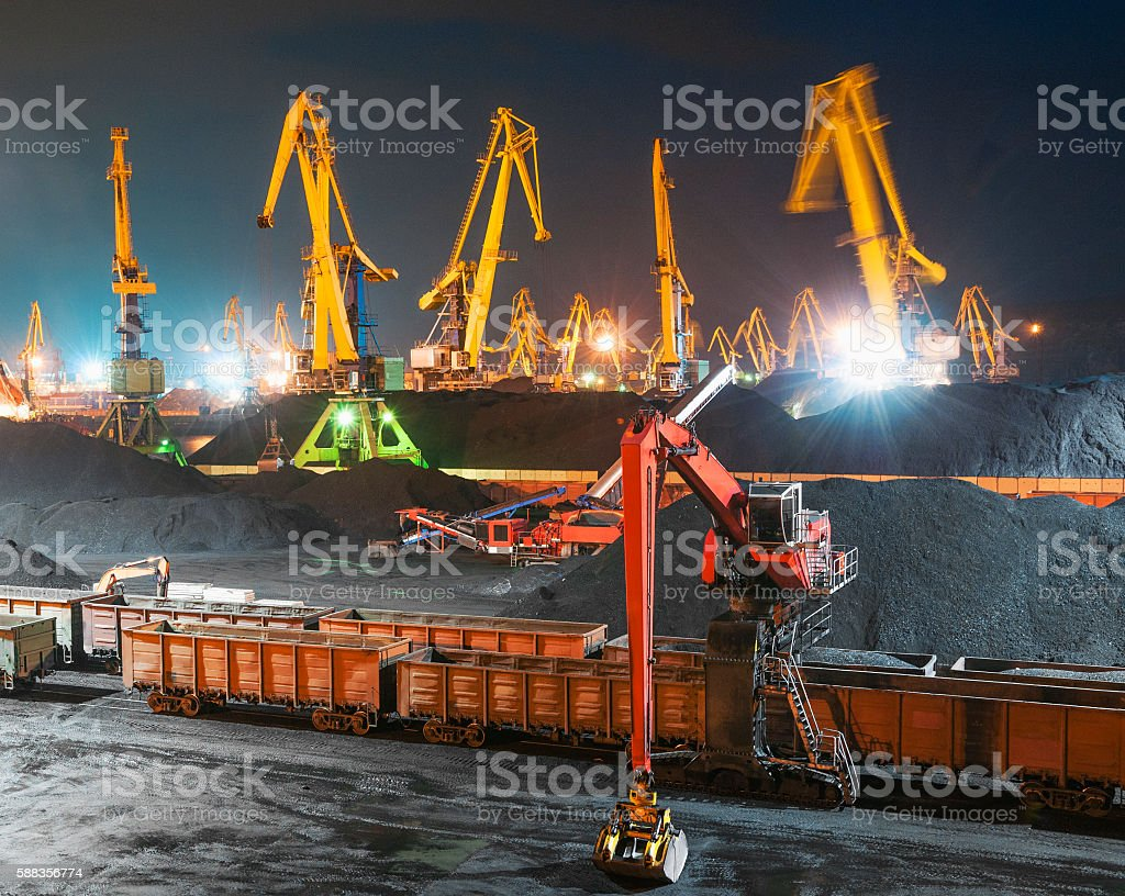 On the coal terminal at night. stock photo