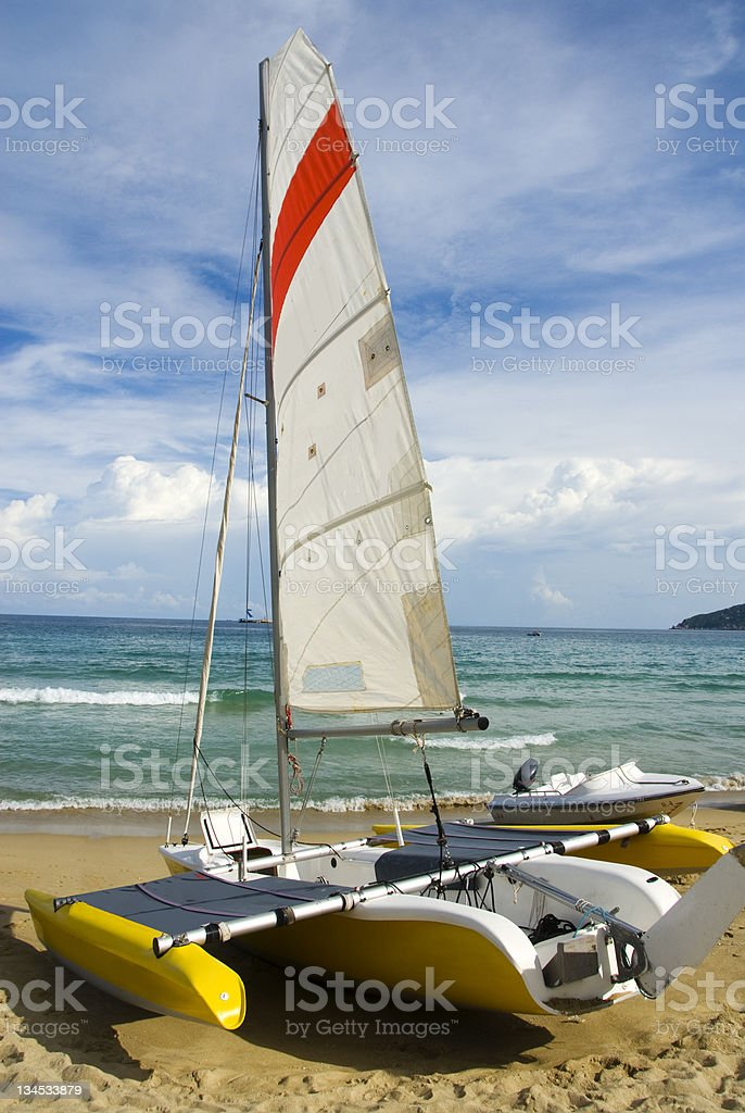 On the coast of sailing royalty-free stock photo