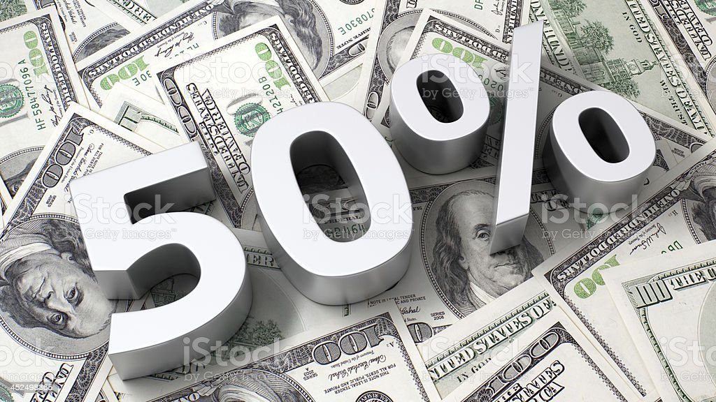 50% on the dollar background stock photo