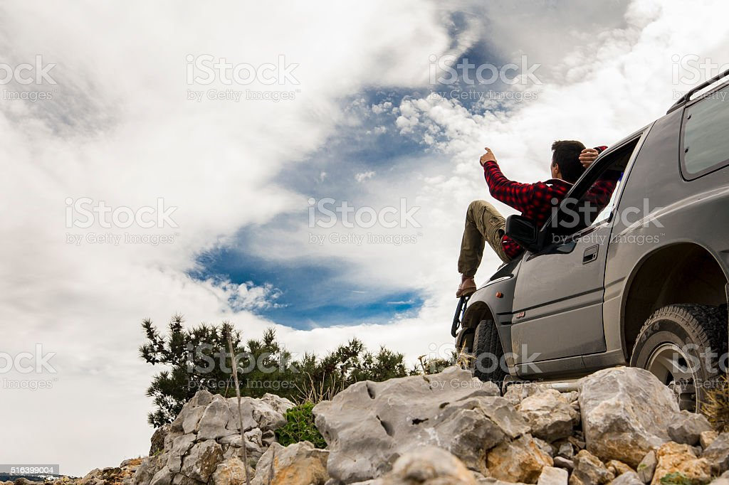 On the edge of a cliff stock photo