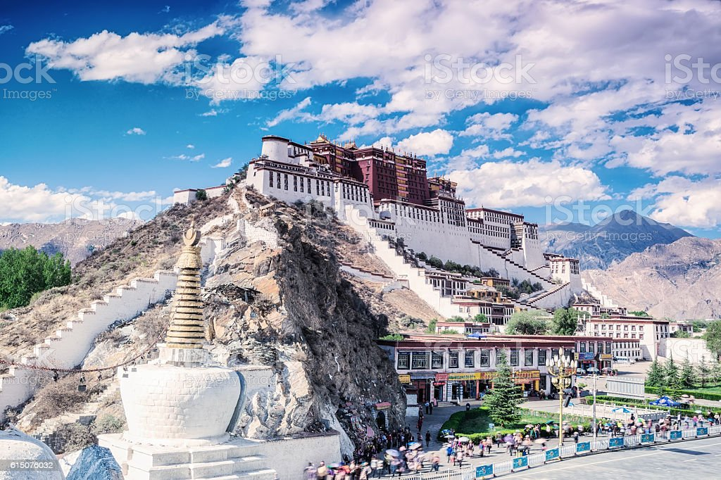 on the feet of potala palace in lhasa of tibet stock photo