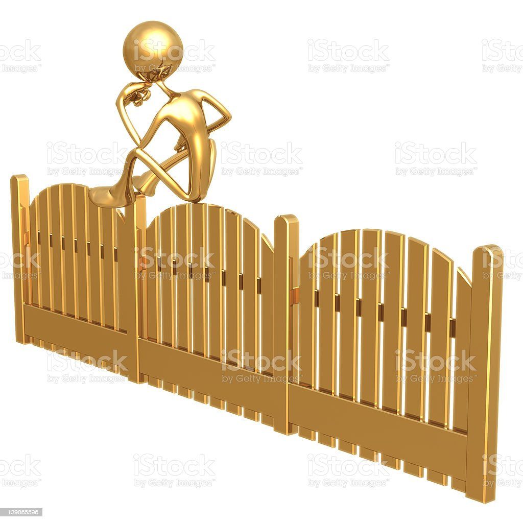 On The Fence royalty-free stock vector art
