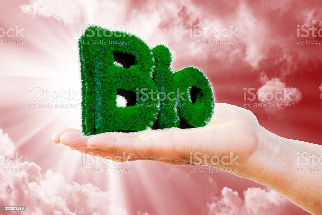 BIO on the hand stock photo