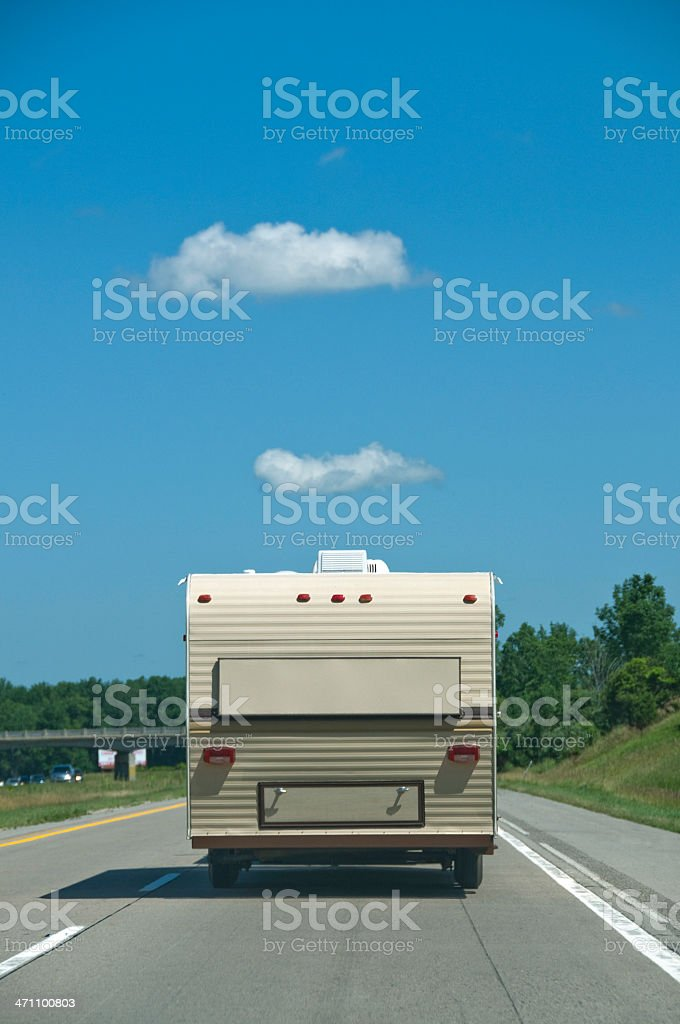 RV on the Highway royalty-free stock photo