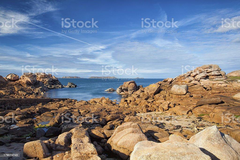 On the impressive coast in Brittany stock photo