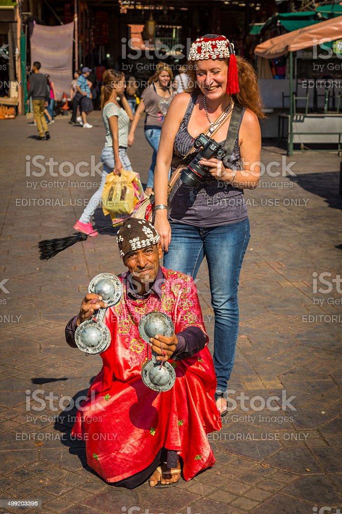 On the Jemaa el Fna square in Marrakesh stock photo