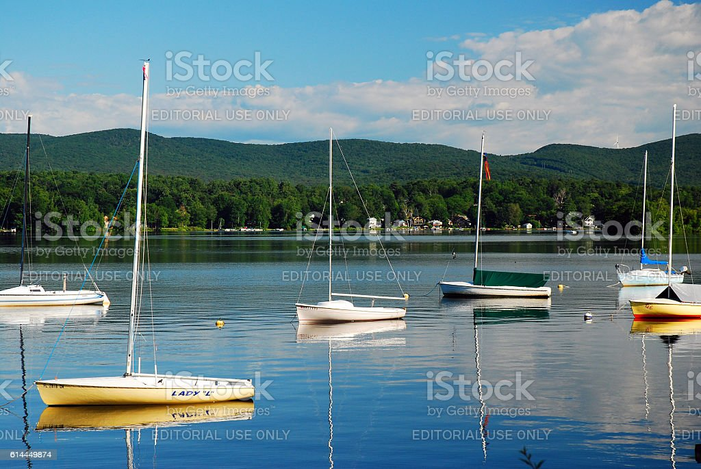 On the Lake in the Berkshire Mountains stock photo