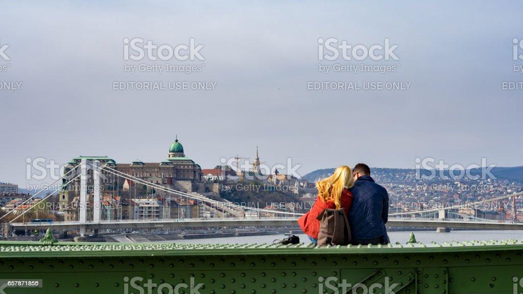 On the Liberty Bridge - Budapest stock photo