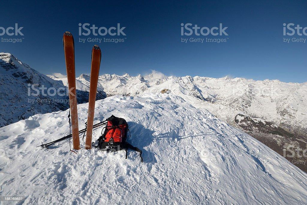 On the mountain peak by ski touring royalty-free stock photo