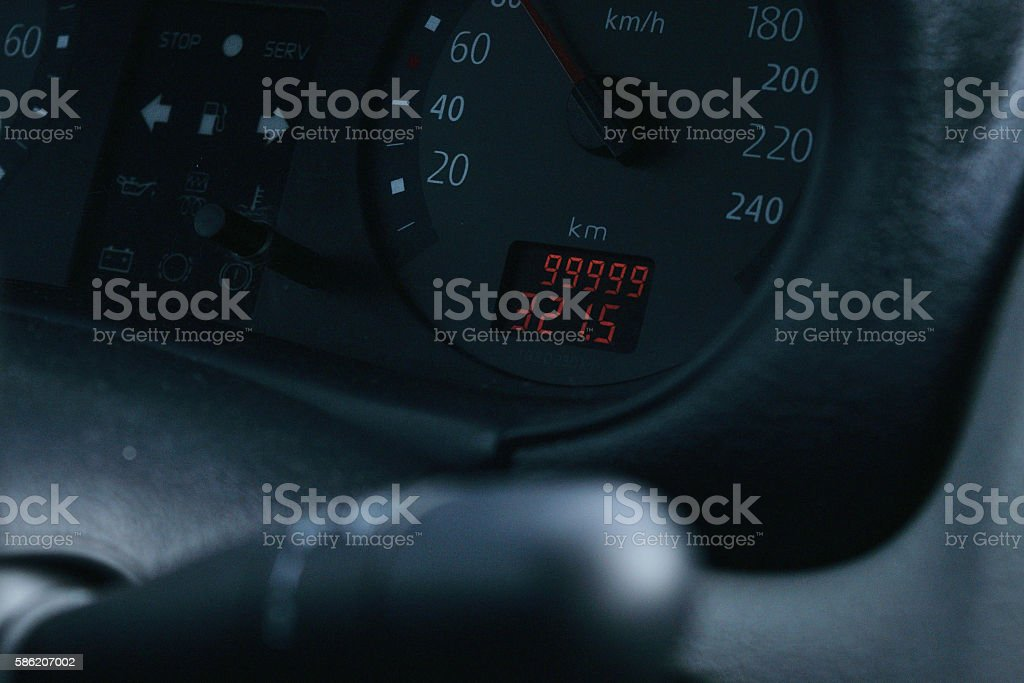 on the odometer 99999 miles stock photo