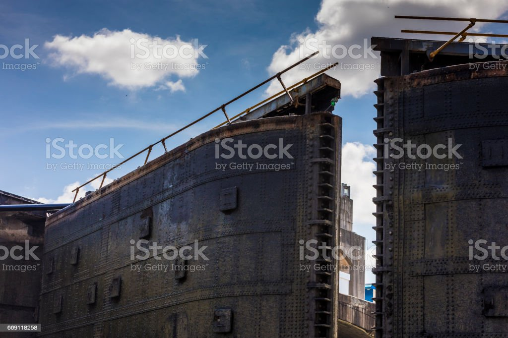 On the Pacific Ocean side, a view of the doors while their closing, which constitues the Panama Canal Water lock system. stock photo