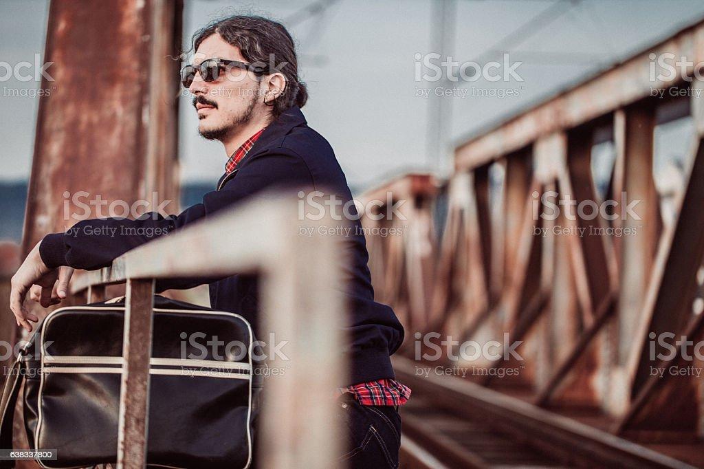 On the railway bridge stock photo