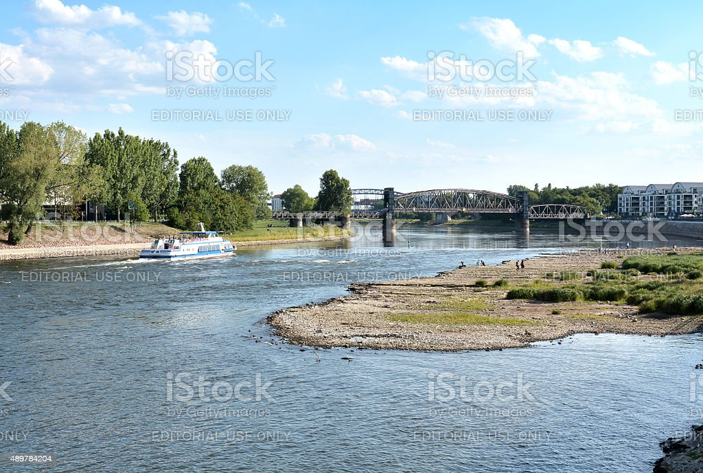 on the river Elbe stock photo