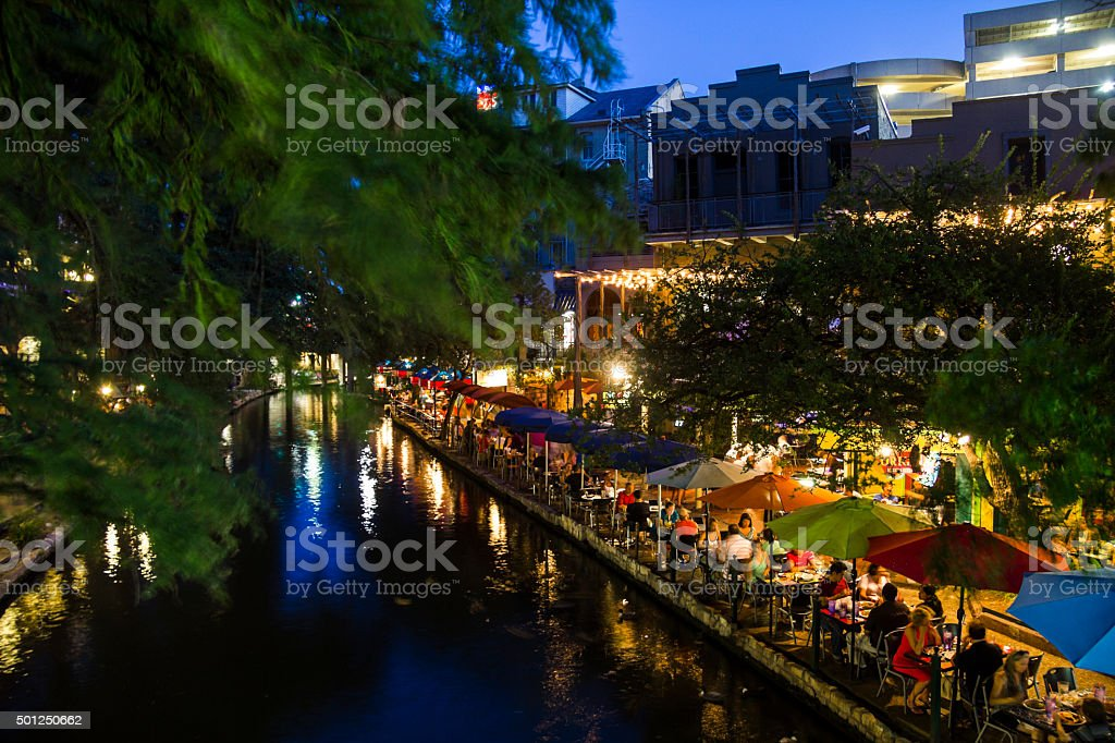 On the riverwalk in San Antonio at night stock photo