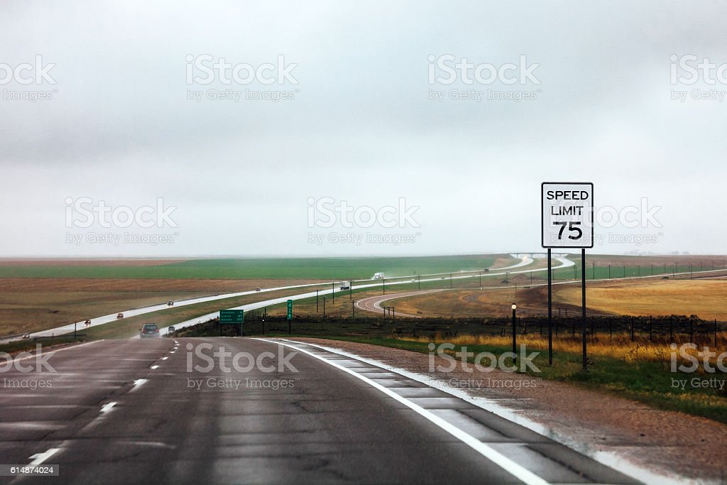 On the road from Kansas to Colorado. stock photo