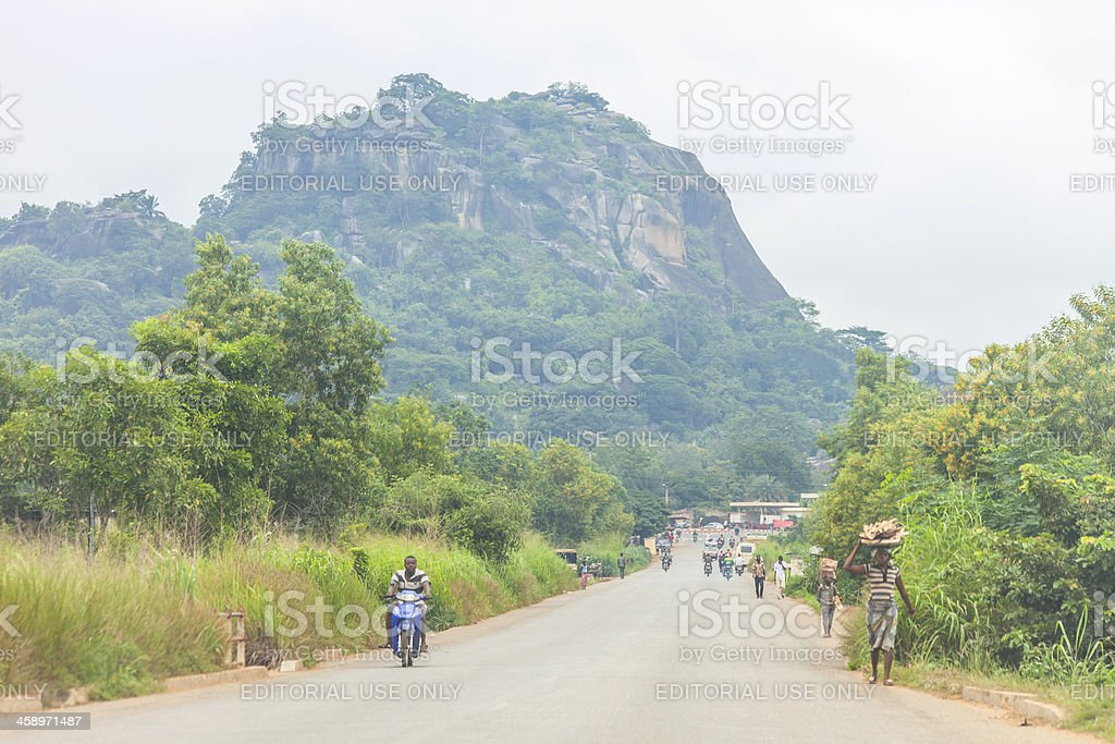 On the road in africa. stock photo