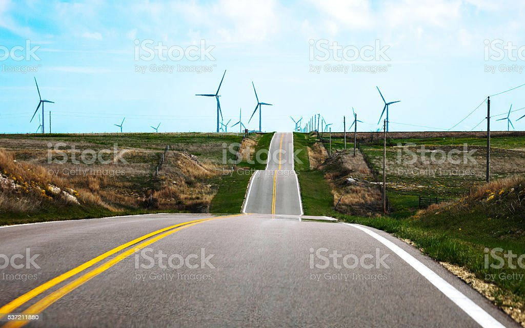 On the road in Kansas. stock photo