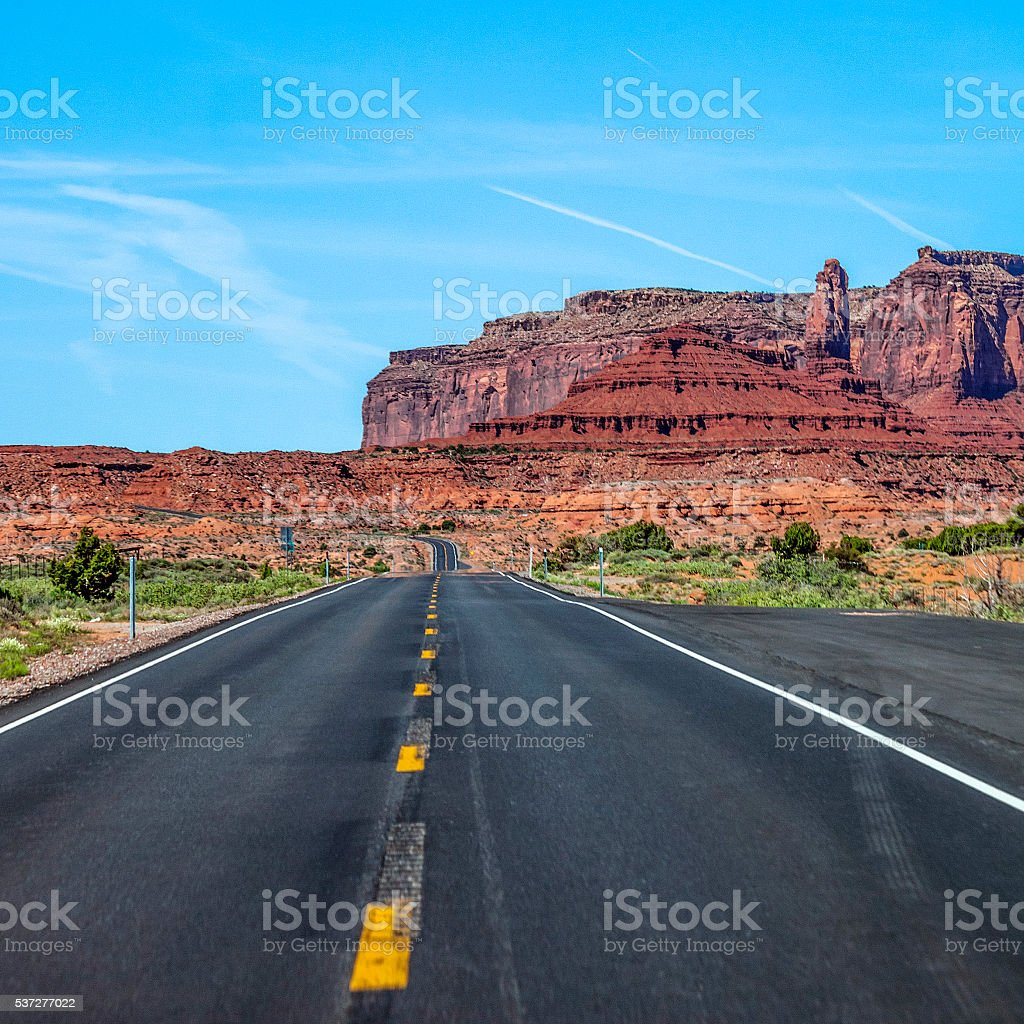 On the road in Utah. stock photo