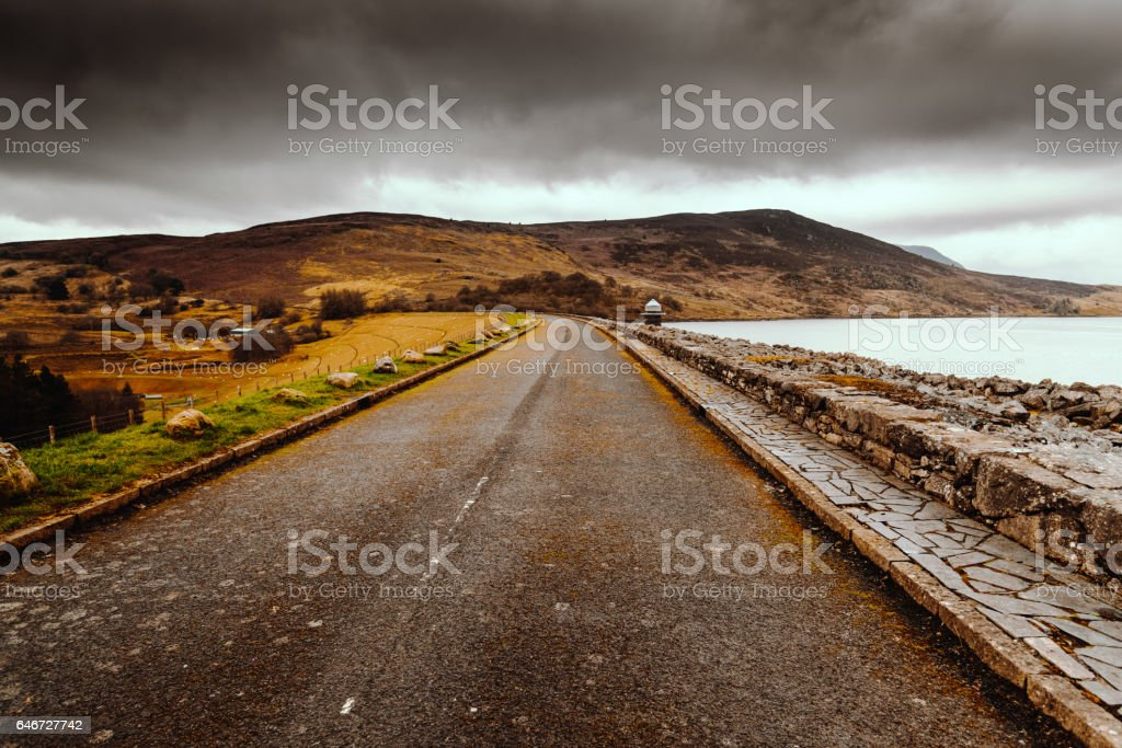 on the road on the derbyshire and yorkshire stock photo