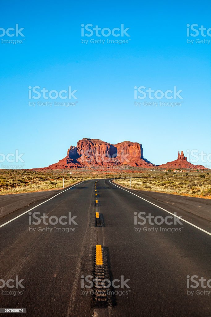 On the road to Monument Valley. stock photo