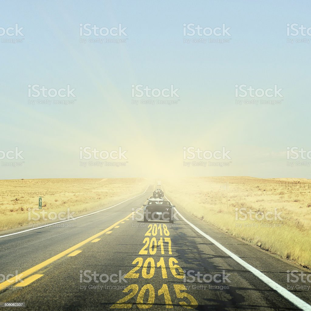 On the Road to New Year 2015 stock photo