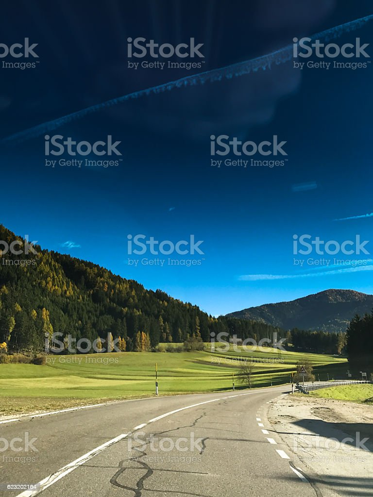 on the road to the dolomites - italy stock photo