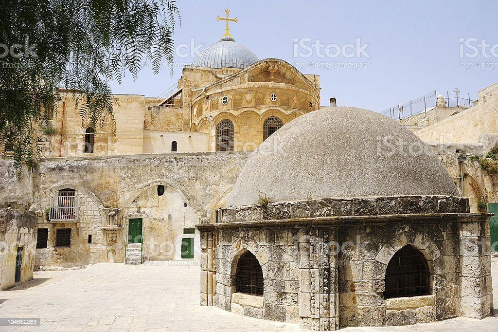 On the roof of Church Holy Sepulchre stock photo