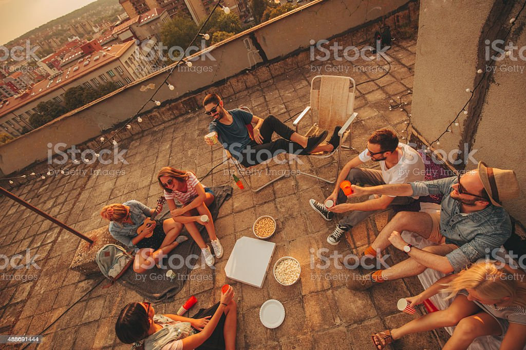 On the rooftop stock photo