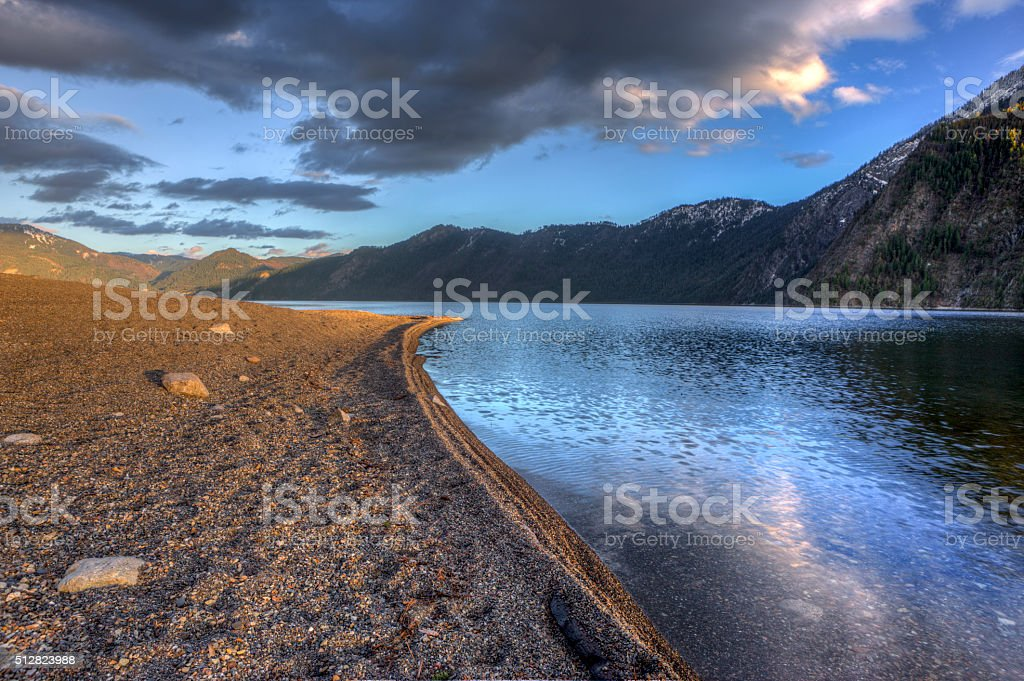 On the shore of Pend Oreille Lake. stock photo