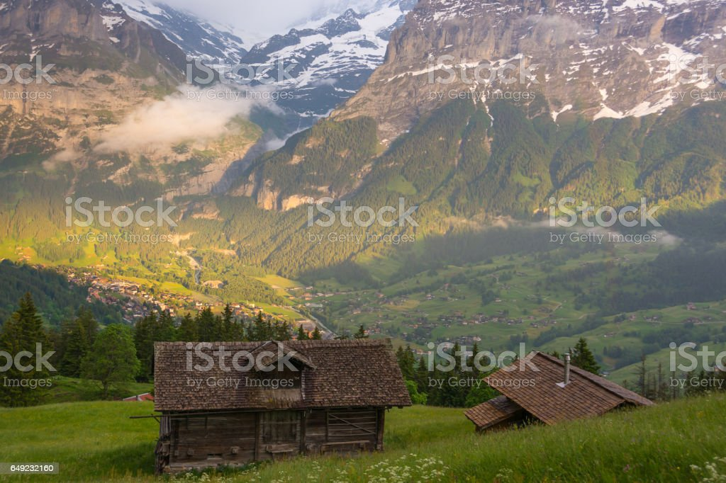 On the slopes of the Grindelwald valley, Switzerland stock photo