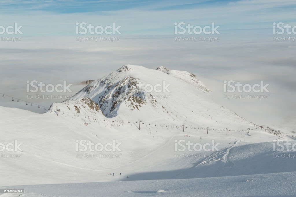 On the slopes of the ski resort of Kasprowy wierch. Poland. stock photo