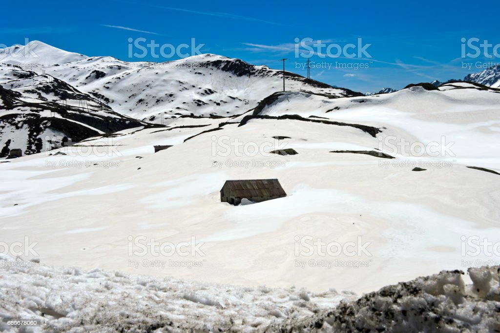 On the snow-covered St Gotthard Pass, stock photo