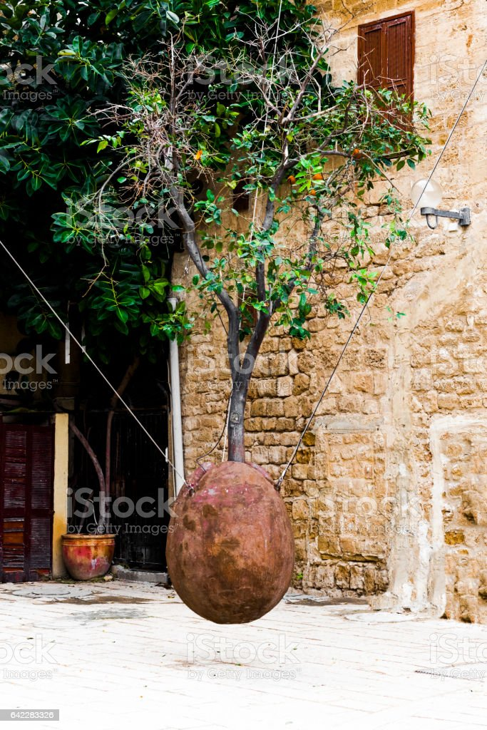 On the square in old Jaffa stock photo