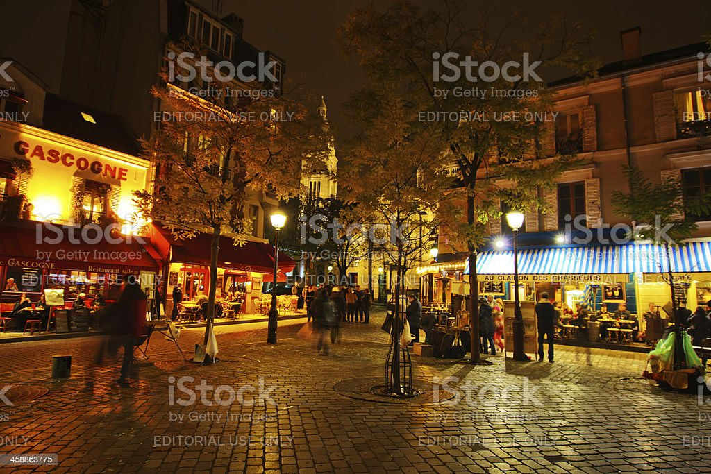 on the square Tertre in Paris at night stock photo