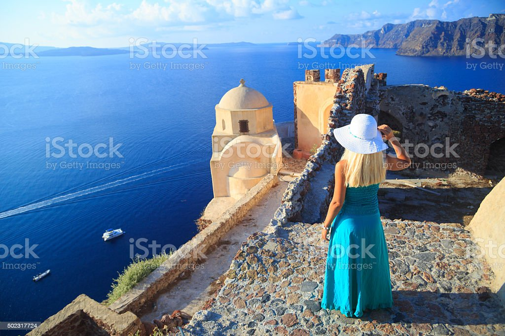 On the streets of Oia, Santorini stock photo
