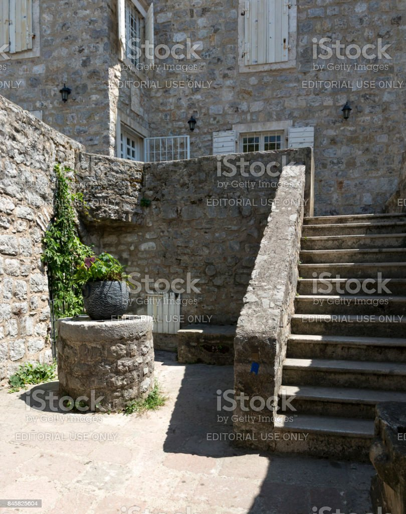 On the streets of the old town of Budva, Montenegro stock photo